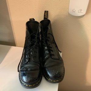 doc marten black patent leather combat boots